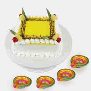 Cakes-Square Pineapple Cake with Diwali Card
