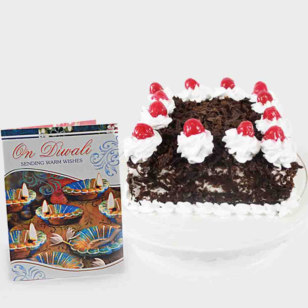 Square Black Forest Cake with Diwali Card
