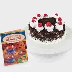 Cakes-Round Black Forest Cake with Diwali Card