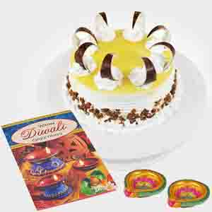 Cakes-Butterscotch Cake with 2 Earthen Diyas and Diwali Card