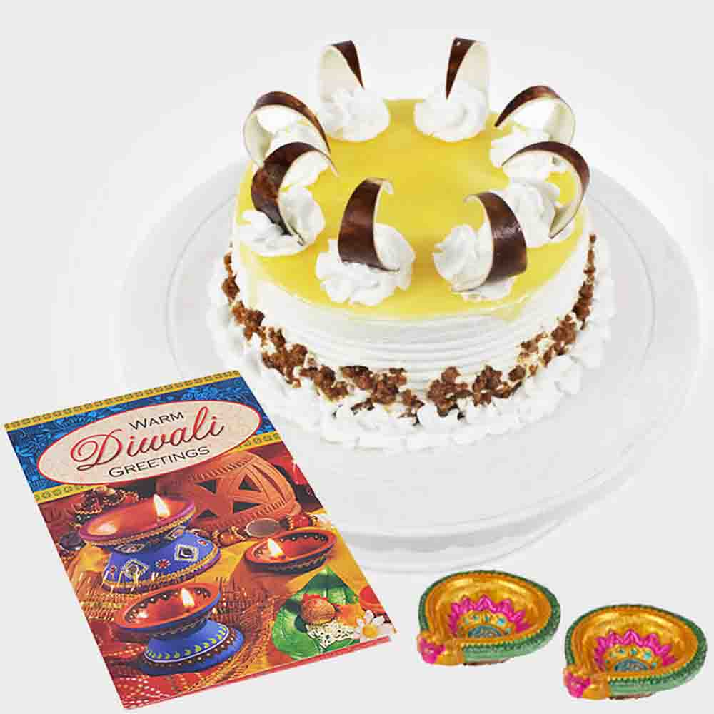Butterscotch Cake with 2 Earthen Diyas and Diwali Card