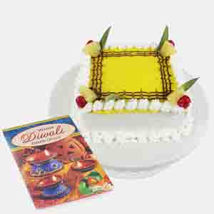 Cakes-1 kg Pineapple Cake with Diwali Card