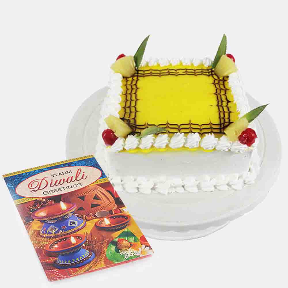 1 kg Pineapple Cake with Diwali Card