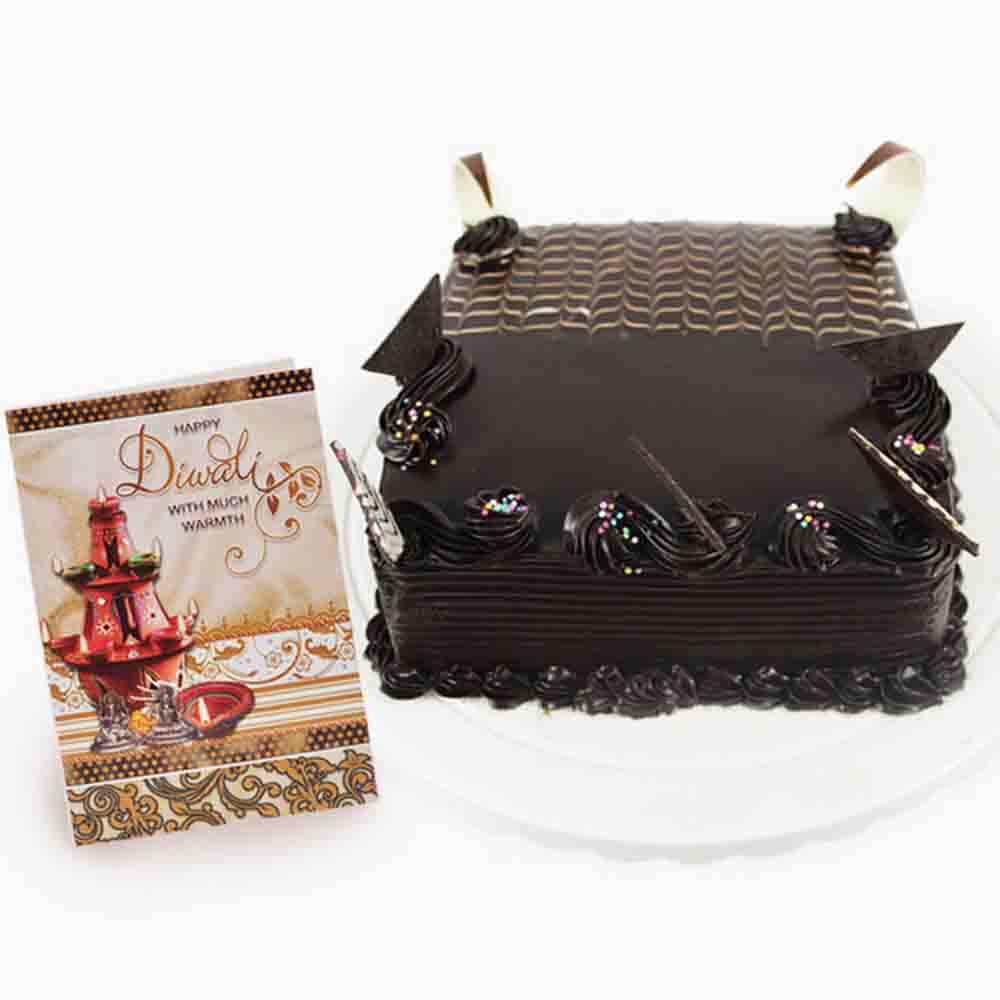 Square Chocolate Truffle Cake with Diwali Card