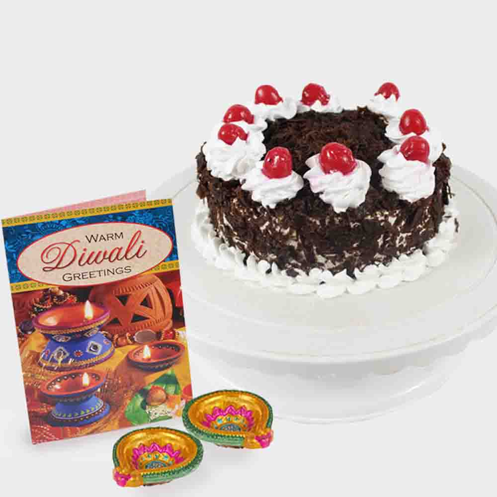 Black Forest Cake with Diyas and Diwali Card
