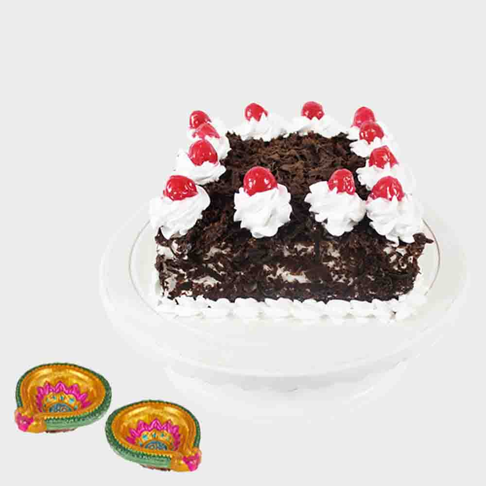 Black Forest Cake with 2 Diwali Diyas