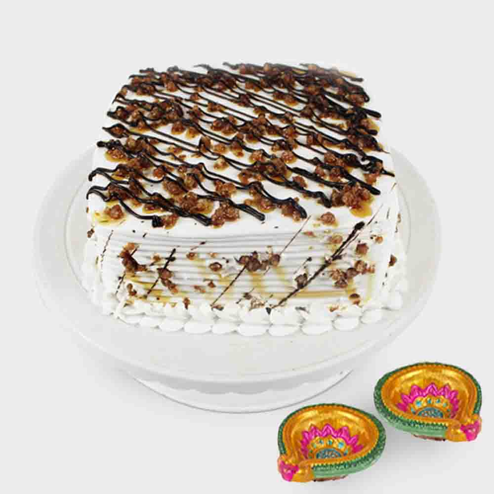 1 kg Butterscotch Cake with Diwali Diyas