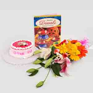 Flowers & Cakes-flowers and half kg Strawberry Cake