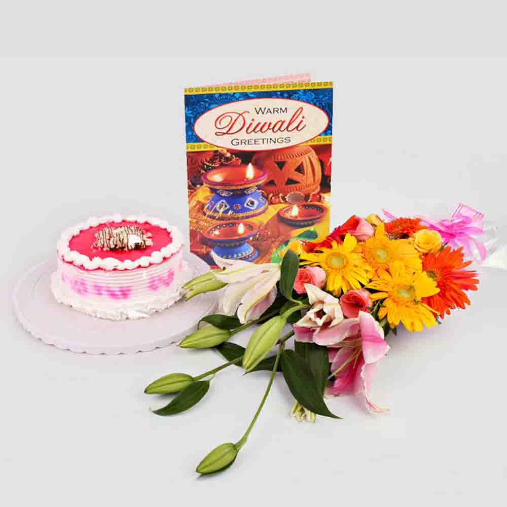 flowers and half kg Strawberry Cake