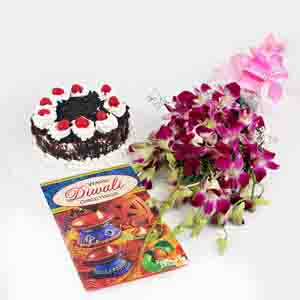 Flowers & Cakes-Black Forest Cake with Orchid Bouquet