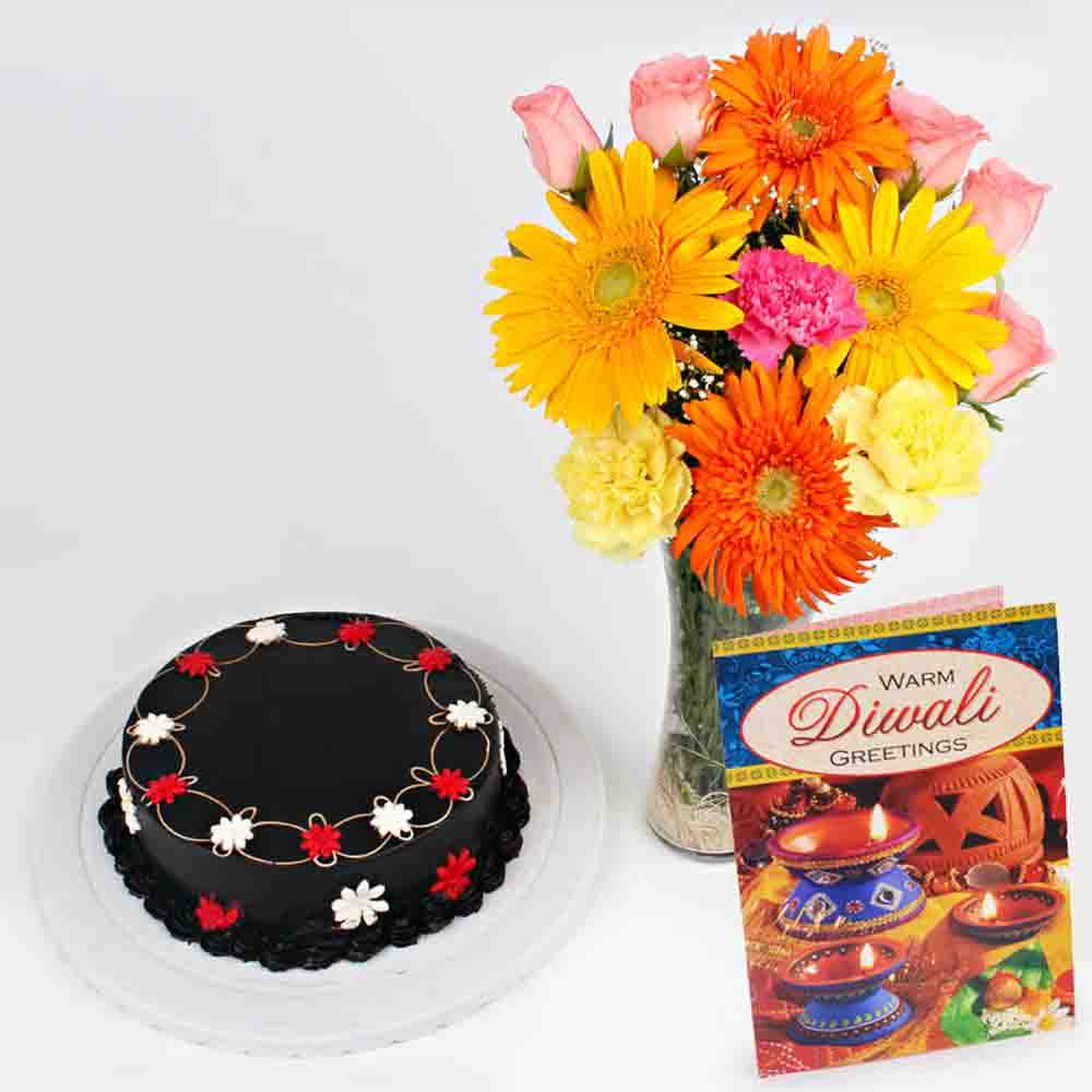 Flowers & Cakes-Chocolate Cake with Lovely Flowers Vase