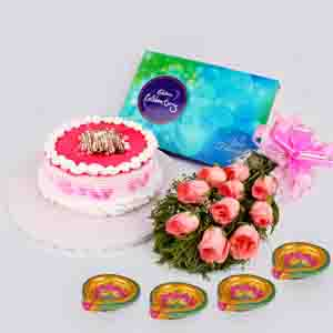 Floral Hampers-Cake with Pink Roses & Crackers