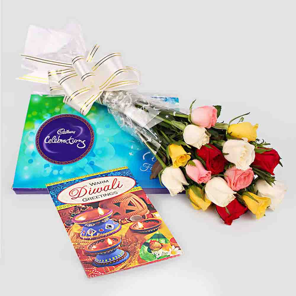 Flowers with Chocolates-Roses bunch with Cadbury Celebration