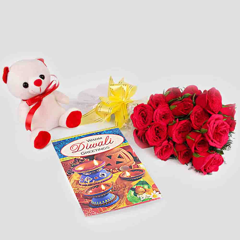 Floral Hampers-Red Roses with Teddy Bear