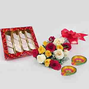 Flowers and Mithai-Diwali Special Kaju Katli with Mix Roses