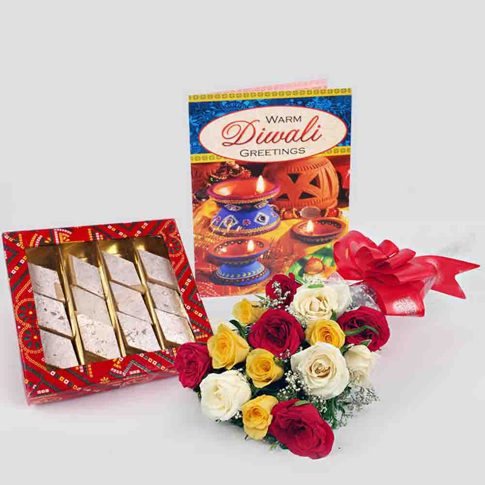 Diwali Gift of Sweet Mix Roses and Diwali Card