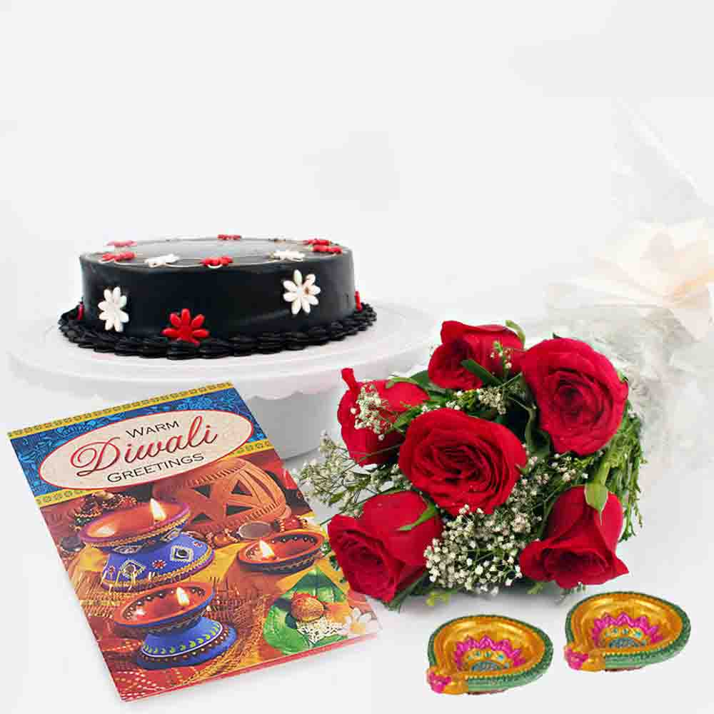 Chocolate Cake and Red Roses