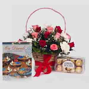 Flowers with Chocolates-Basket of Mix Roses and Ferrero Rocher
