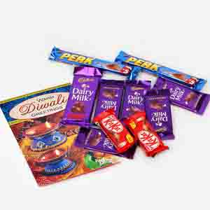 Floral Hampers-Assorted Cadbury Chocolates with Diwali Wishes Card