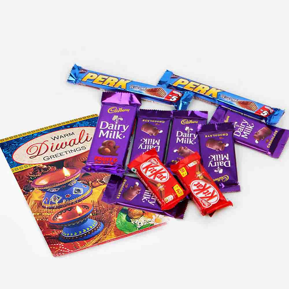Assorted Cadbury Chocolates with Diwali Wishes Card