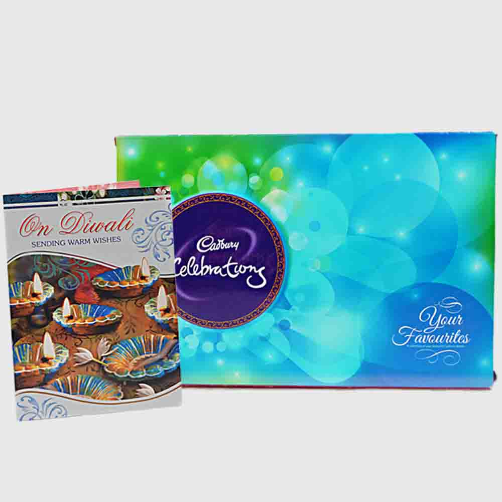 Floral Hampers-Cadbury Celebration Chocolate Box with Diwali Card