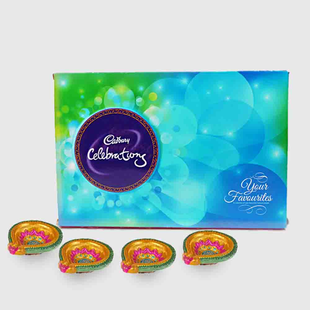 Cadbury Celebration Chocolate Pack with 4 Diya