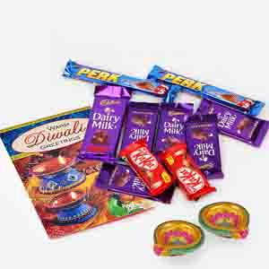 Floral Hampers-10 Assorted Indian Chocolates with Diwali Card