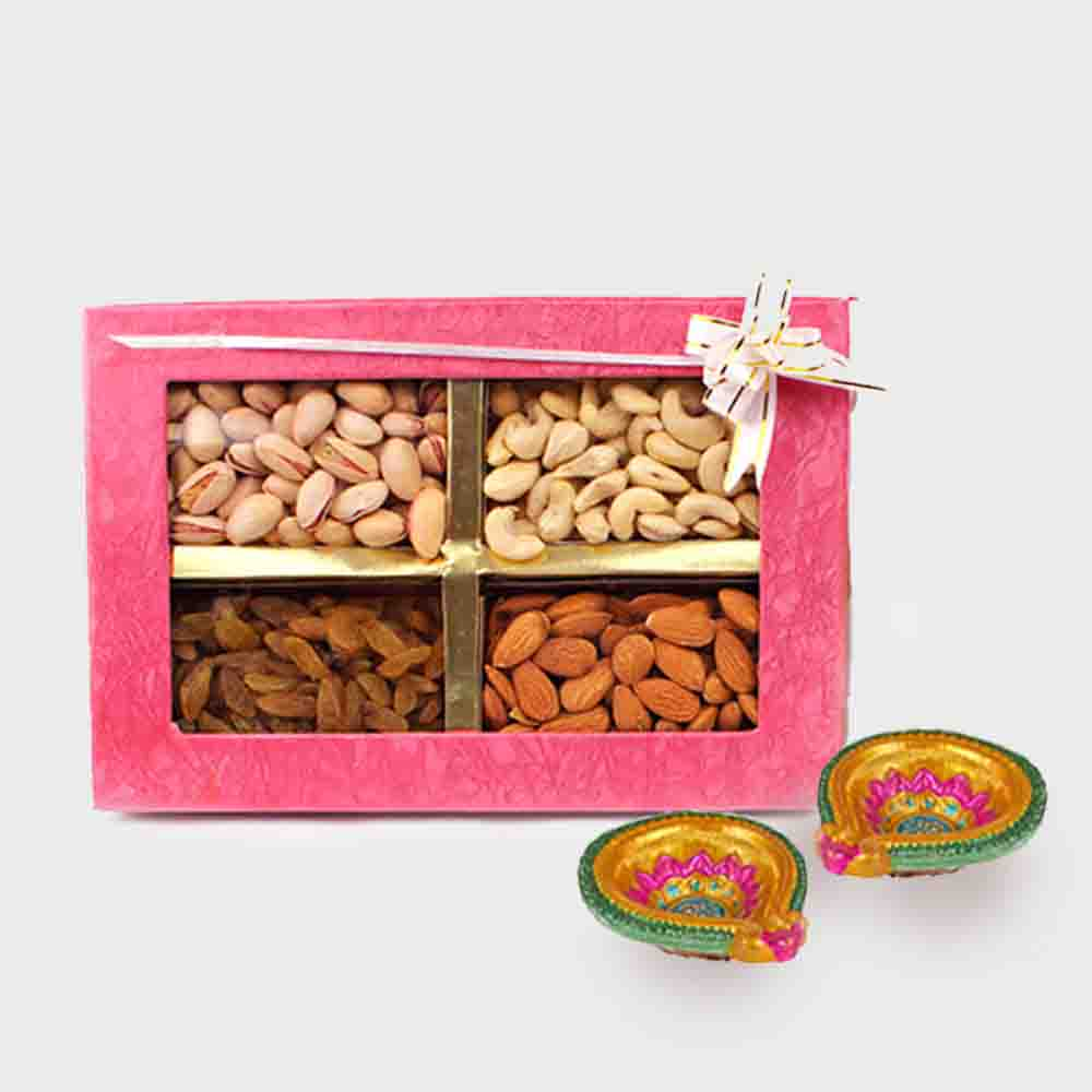 Assorted Dry fruits with Diwali Diya