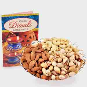 Dry Fruits-Assorted Dry fruits with Diwali Card