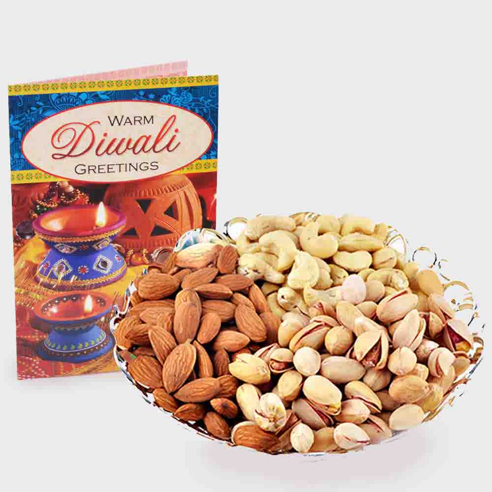 Assorted Dry fruits with Diwali Card