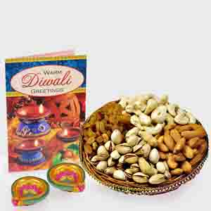 Dry Fruits-Basket of Assorted Dry fruits with Diwali Diya