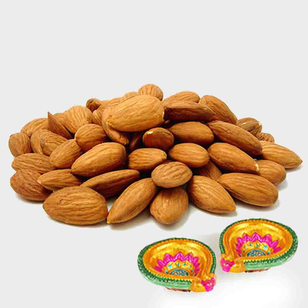 Pack of Almond with Diwali Diya