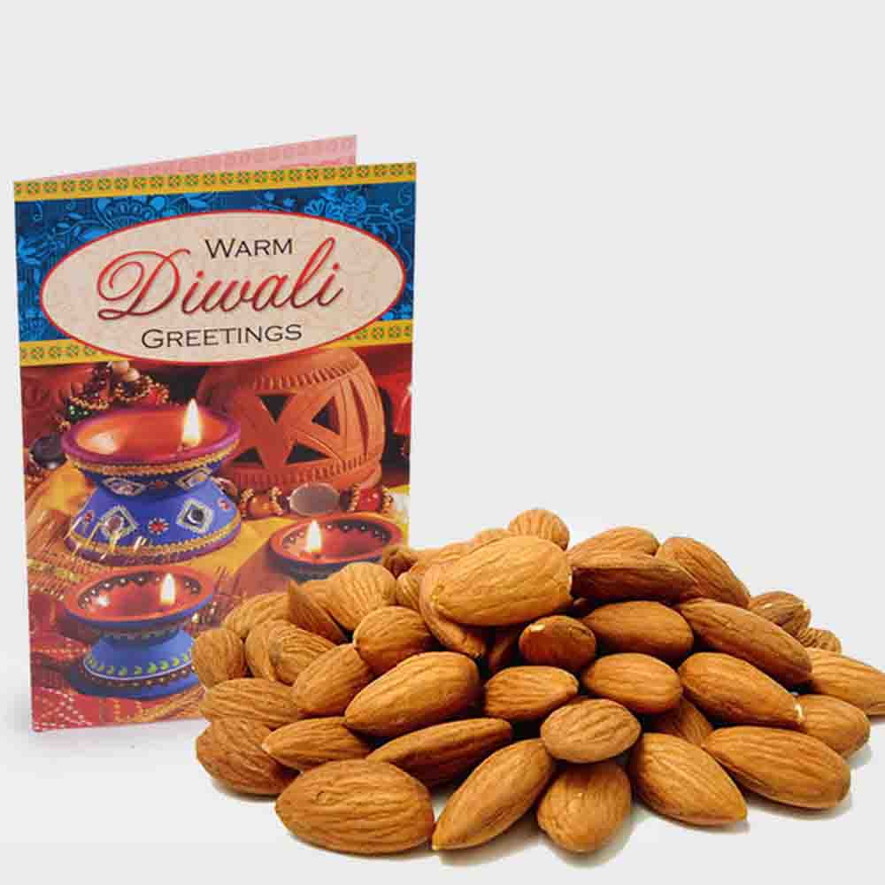 Pack of Almond with Diwali Card