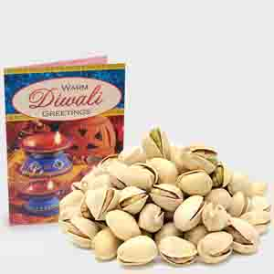 Dry Fruits-Pack of Pista with Diwali Card