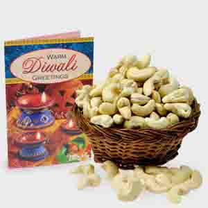 Dry Fruits-Basket of Cashew Nut with Diwali Card