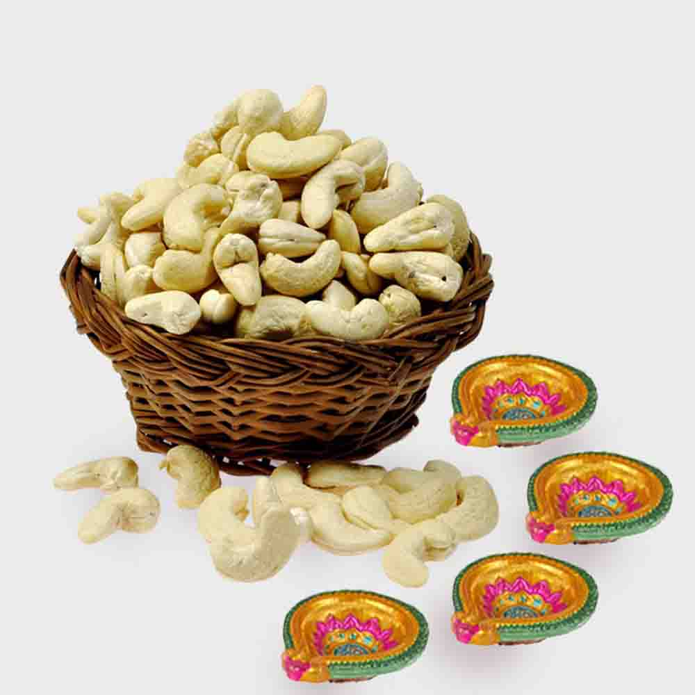 Basket of Cashew Nut with 4 Diwali Diya