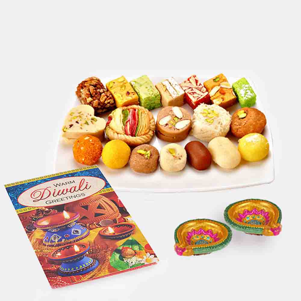 Assorted Sweet with Diwali Diya