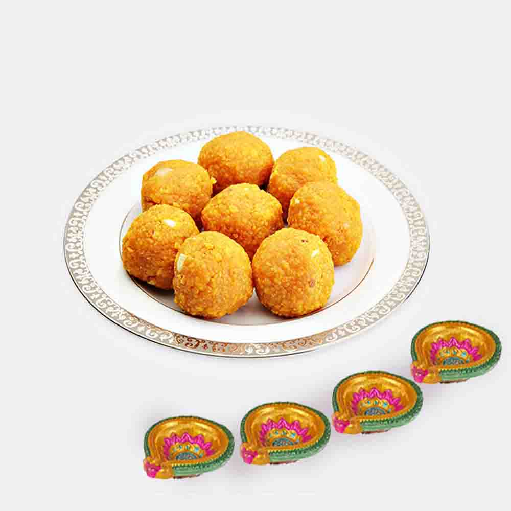 Bundi Ladoo with 4 Diwali Diya