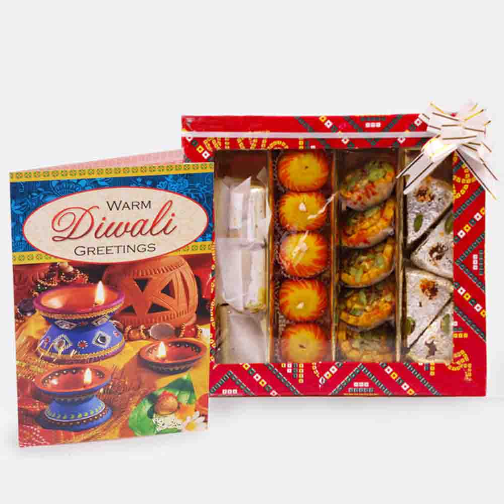 Assorted Sweet with Diwali Card