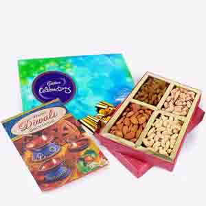 Floral Hampers-Assorted Dry fruits and Cadbury Celebration