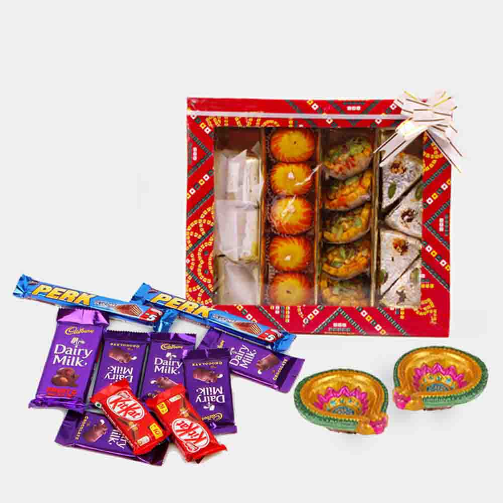 Floral Hampers-Assorted Sweet With 10 Assorted Indian chocolates
