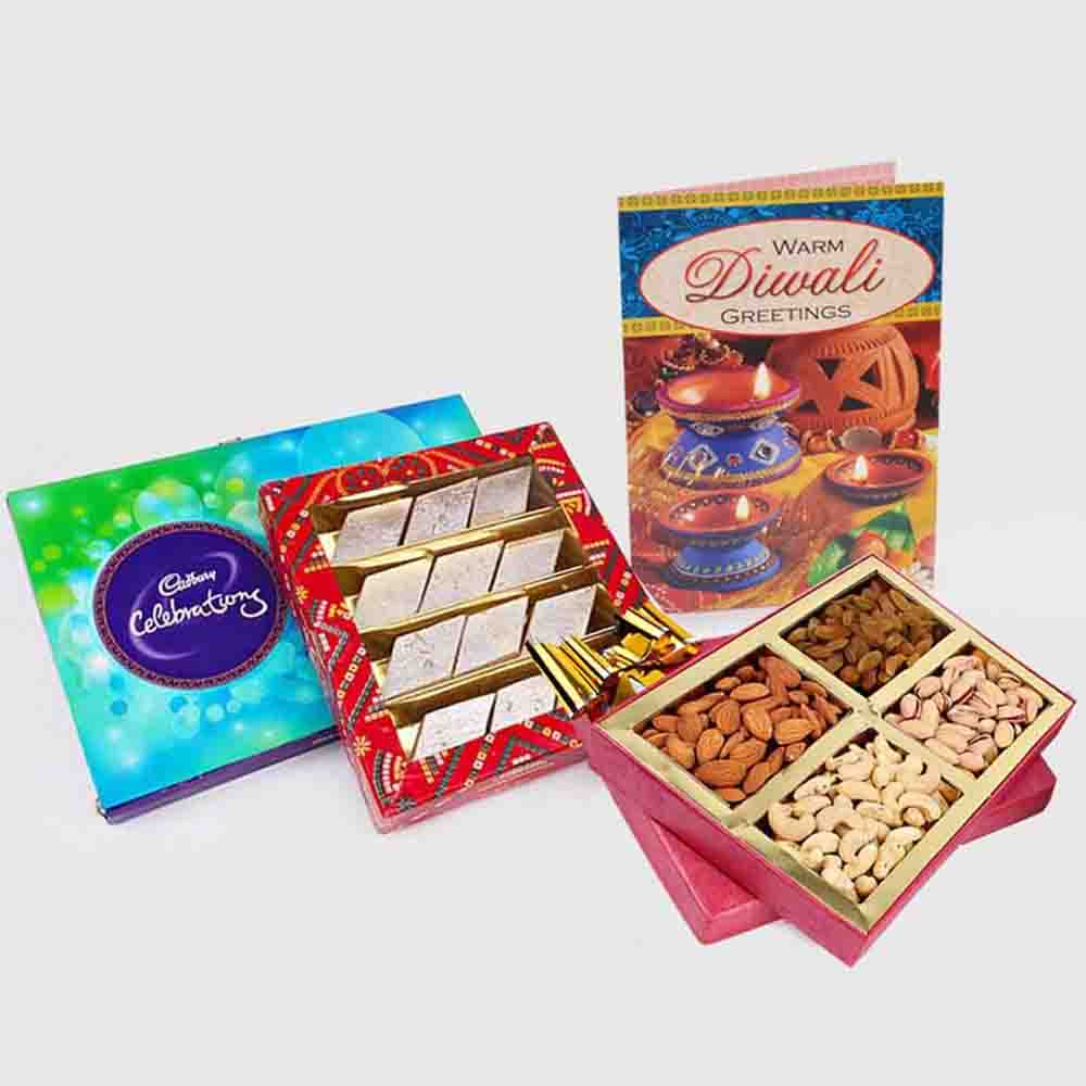 Cadbury Celebration Chocolate Pack with Kaju Katli Sweet and Assorted Dry fruits and Diwali Card