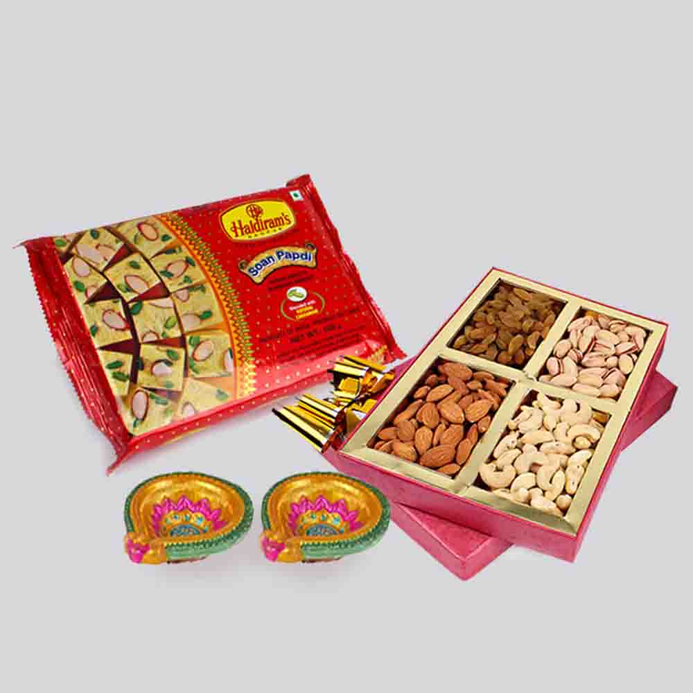 Soan Papdi and Assorted Dry fruits with Diwali Diya