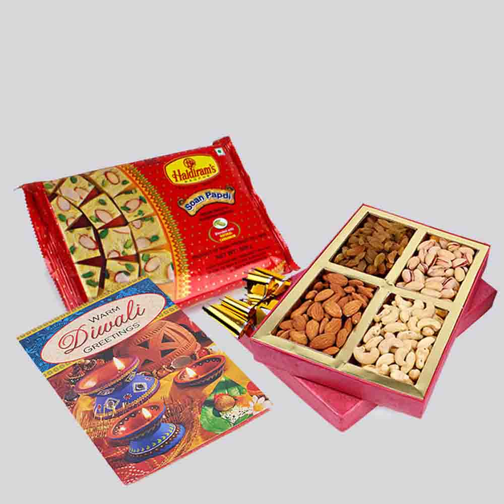 Floral Hampers-Soan Papdi and Assorted Dry fruits with Diwali Card