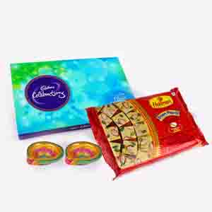 Floral Hampers-Soan Papdi and Cadbury Celebration Chocolate Pack with Diwali Diya