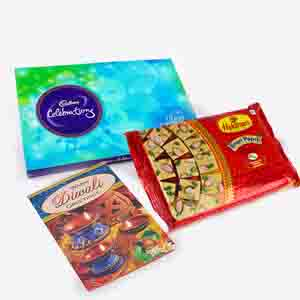 Floral Hampers-Soan Papdi and Cadbury Celebration Pack with Diwali Card