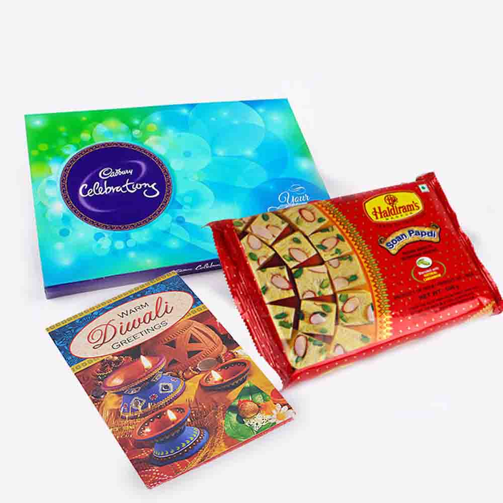 Soan Papdi and Cadbury Celebration Pack with Diwali Card