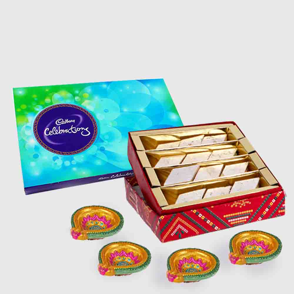 Cadbury Celebration Chocolate Pack with Kaju Katli Sweet and 4 Diwali Diya