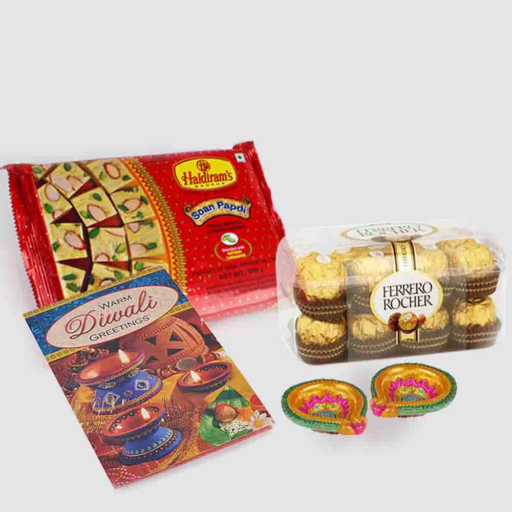Floral Hampers-Soan Papdi with Ferrero Rocher Chocolates and Diwali Diya and Diwali Card