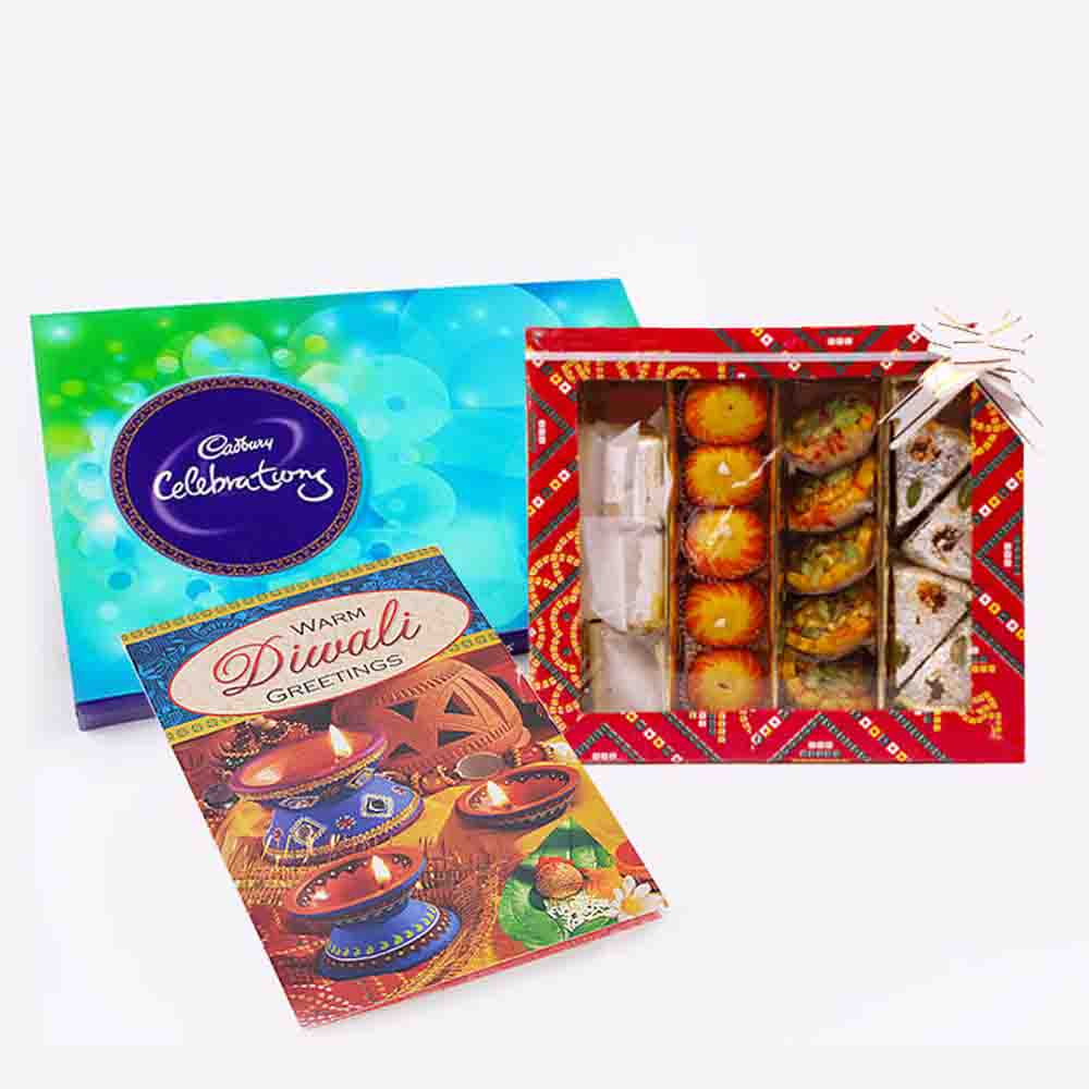 Floral Hampers-Cadbury Celebration Pack with Assorted Sweet and Diwali Card